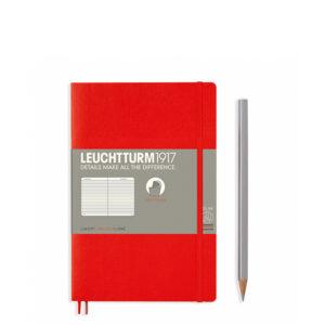 Блокнот Leuchtturm1917 Paperback (B6), М'яка обкладинка, Червоний, Лінія