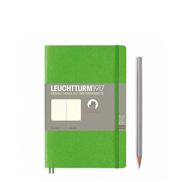 Блокнот Leuchtturm1917 Paperback (B6), М'яка обкладинка, Свіжий зелений, Чисті аркуші