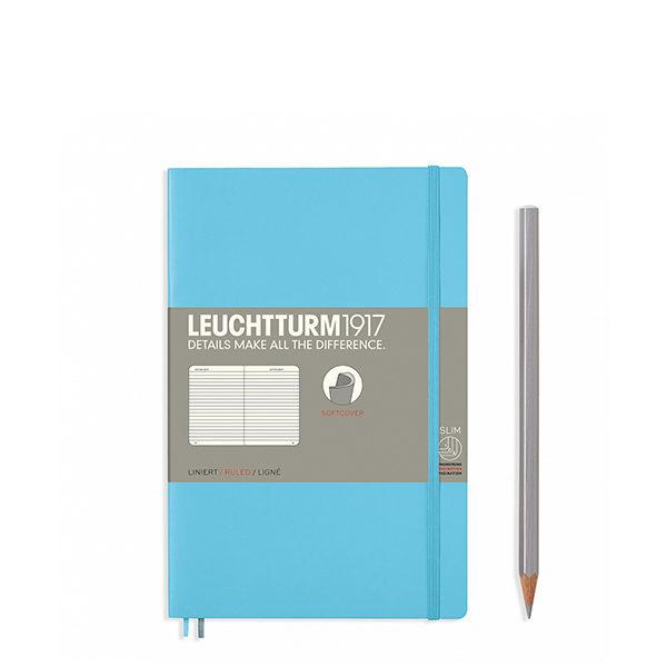 Блокнот Leuchtturm1917 Paperback (B6), М'яка обкладинка, Льодяний синій, Лінія