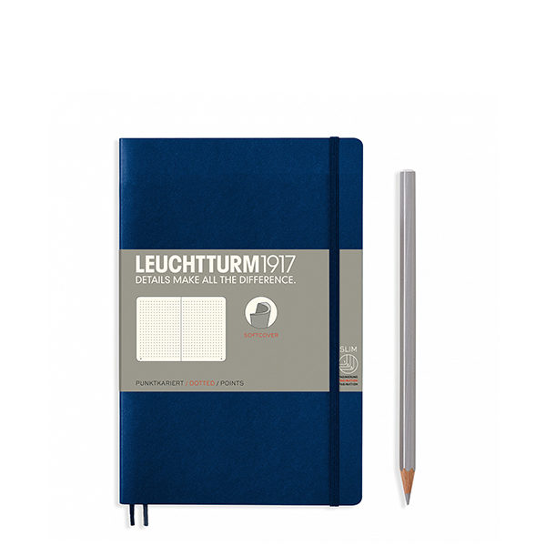 Блокнот Leuchtturm1917 Paperback (B6), М'яка обкладинка, Темно-синій, Крапка