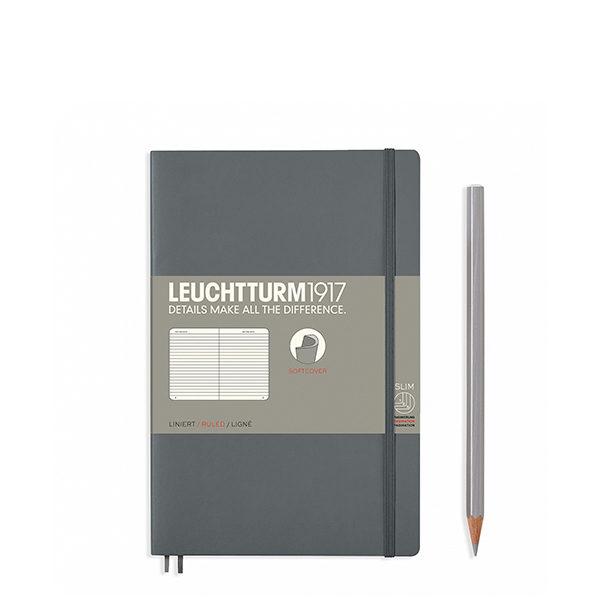 Блокнот Leuchtturm1917 Paperback (B6), М'яка обкладинка, Антрацит, Лінія