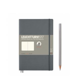 Блокнот Leuchtturm1917 Paperback (B6), М'яка обкладинка, Антрацит, Чисті аркуші