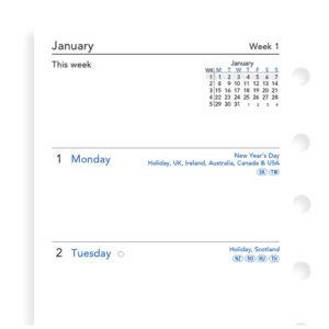 Бланки тиждень на двох сторінках Filofax, Pocket, білі, 2019