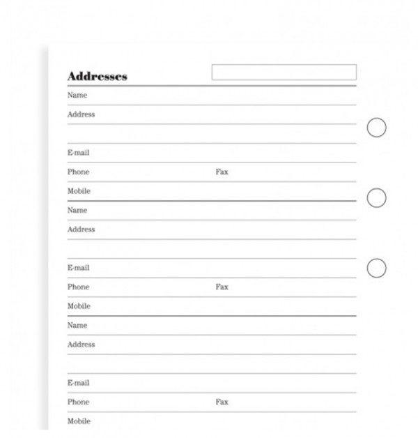 Бланки адреса і телефони Filofax, Personal white