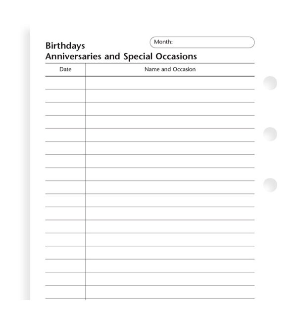 Бланки Дні народження і свята Filofax, Personal, white