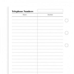 Бланки телефони до органайзеру Filofax, Personal white