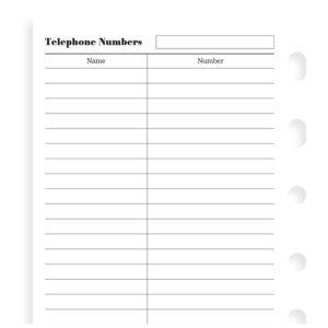 Бланки телефони до органайзеру Filofax, Pocket, білі