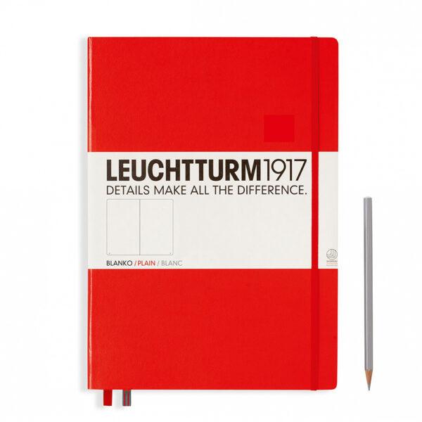 Блокнот Leuchtturm1917 Master Classic А4+, червоний, чисті аркуші