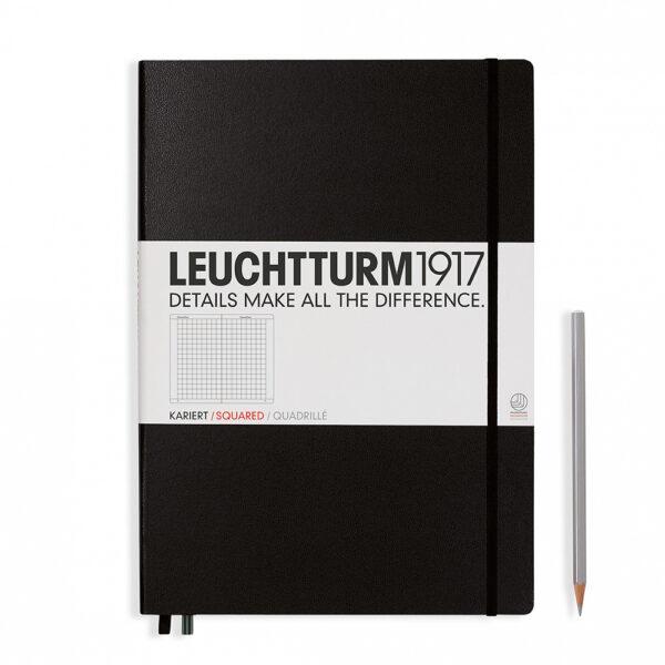 Блокнот Leuchtturm1917 Master Classic A4+, чорний, клітинка