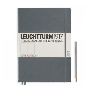 Блокнот Leuchtturm1917 Master Slim A4+, антрацит, чисті аркуші
