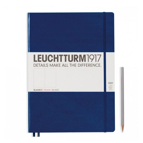 Блокнот Leuchtturm1917 Master Slim A4+, темно-синій, чисті аркуші