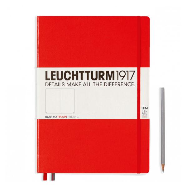 Блокнот Leuchtturm1917 Master Slim A4+, червоний, чисті аркуші