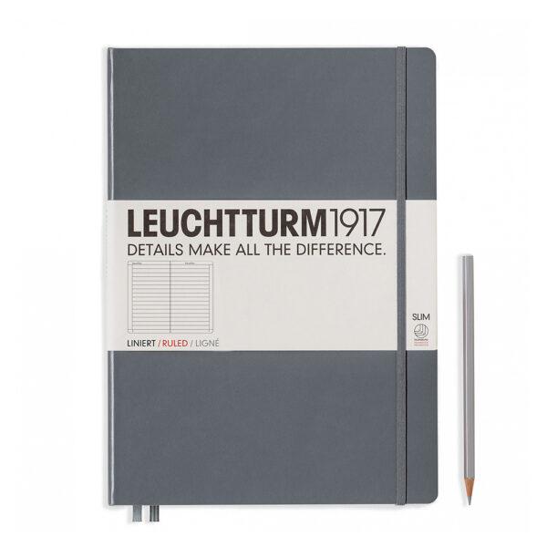 Блокнот Leuchtturm1917 Master Slim A4+, антрацит, лінія