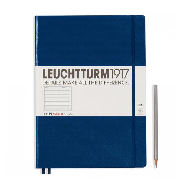 Блокнот Leuchtturm1917 Master Slim A4+, темно-синій, лінія