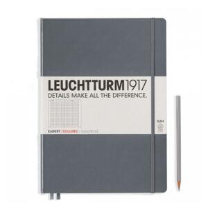 Блокнот Leuchtturm1917 Master Slim A4+, антрацит, клітинка