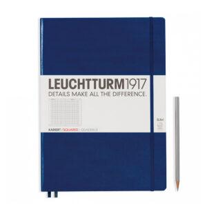 Блокнот Leuchtturm1917 Master Slim A4+, темно-синій, клітинка