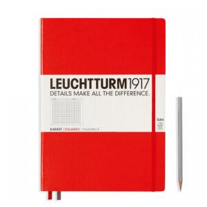 Блокнот Leuchtturm1917 Master Slim A4+, червоний, клітинка