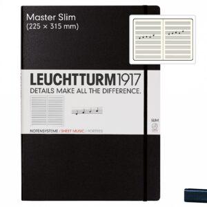 Блокнот Leuchtturm1917 великий Slim, нотний стан, чорний