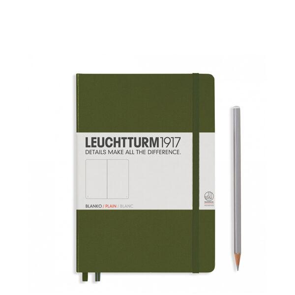 Блокнот Leuchtturm1917 середній, хакі, чисті аркуші