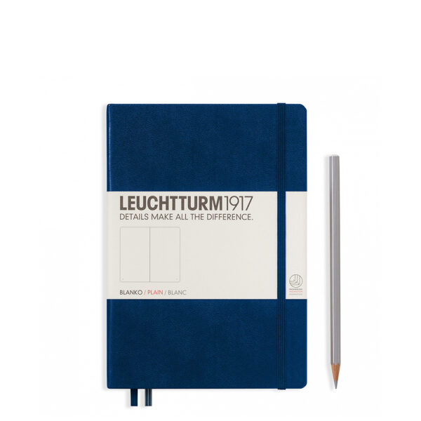 Блокнот Leuchtturm1917 середній, темно-синій, чисті аркуші