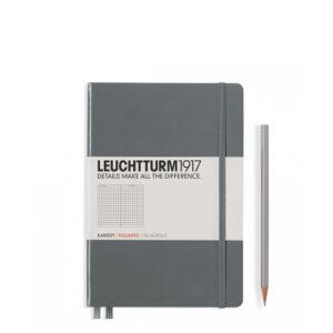 Блокнот Leuchtturm1917 середній, антрацит, клітинка