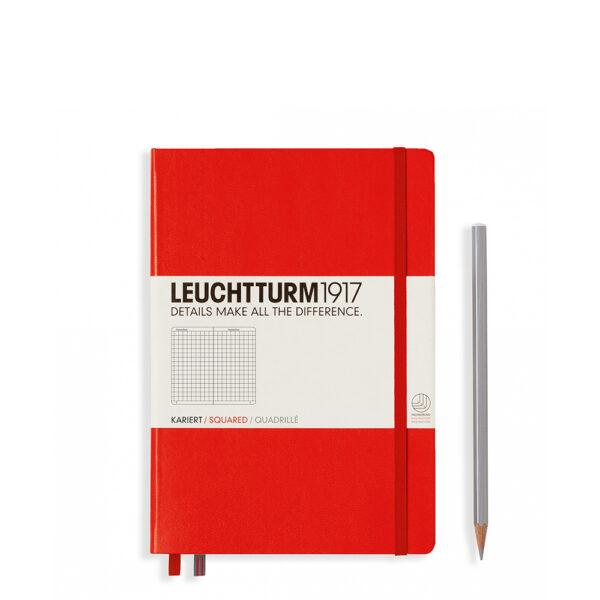 Блокнот Leuchtturm1917 середній, червоний, клітинка