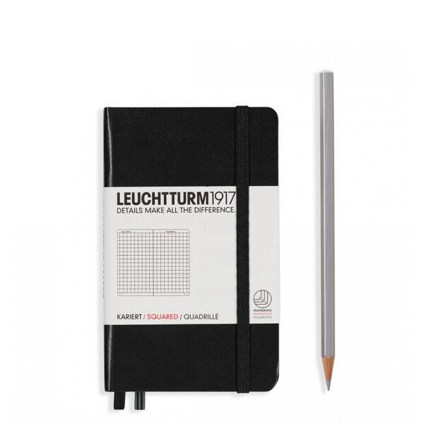 Блокнот Leuchtturm1917 кишеньковий, чорний, клітинка