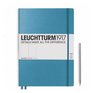 Блокнот Leuchtturm1917 Master Slim A4+, холодний синій, чисті аркуші