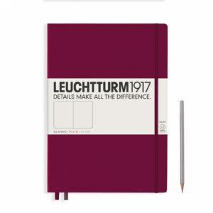 Блокнот Leuchtturm1917 Master Slim A4+, винний, клітинка
