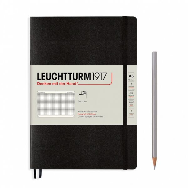 Блокнот Leuchtturm1917 середній, клітинка, м'яка обкладинка, чорний