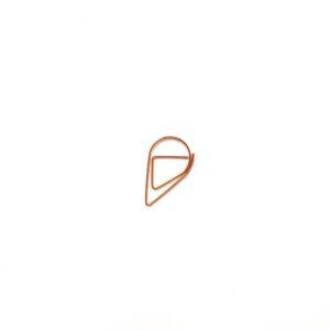 Скріпка-крапелька, велика, рожеве золото, 5 шт
