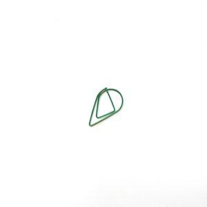Скріпка-крапелька, велика, зелена, 5 шт