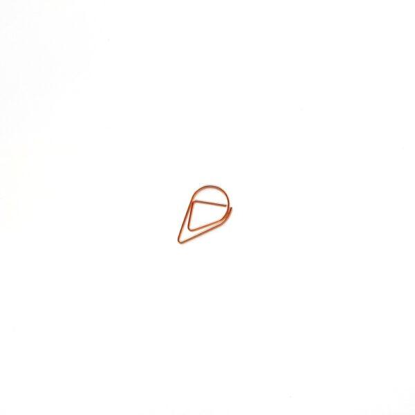 Скріпка-крапелька, маленька, рожеве золото, 5 шт