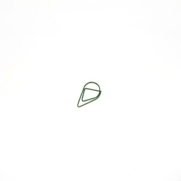 Скріпка-крапелька, маленька, зелена, 5 шт