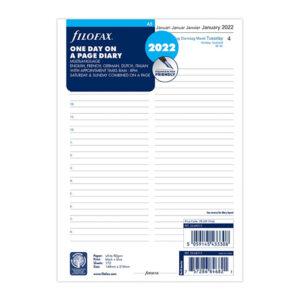 Бланки день на сторінці (бізнес) Filofax, А5, білі, 2022