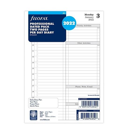 Бланки Time Management огляд дня Filofax, А5, білі, 2022
