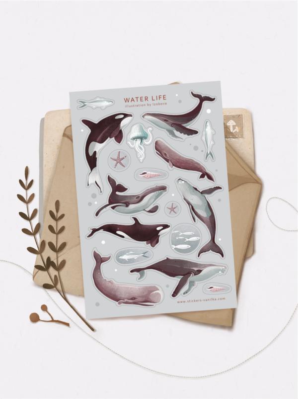 Стікери Vanilka Stickers, Water life (папір)