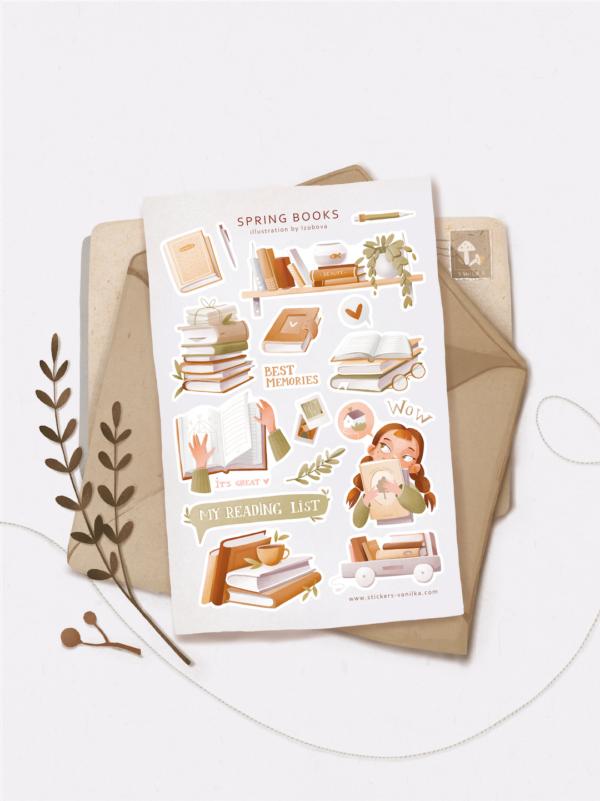 Стікери Vanilka Stickers, Spring books (папір)